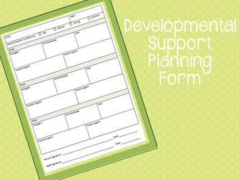 Developmental Support Planning Form