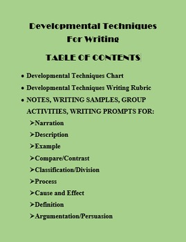 Writing Developmental Techniques Gr 9-12