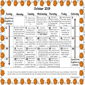 Developmentally Appropriate Homework Calendars - PreK and Kindergarten- October