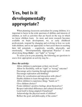 Developmentally Appropriate Practices