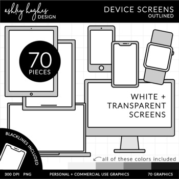 Device Screens Outlined Clipart  {A Hughes Design}