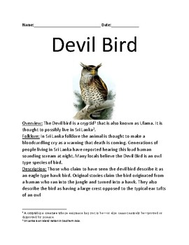 Devil Bird - cryptid from Sri Lanka - review article facts information questions