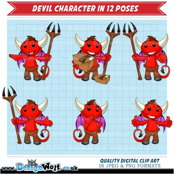 Devil Character In 12 Different Poses