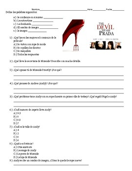 Devil Wears Prada Movie Sheet