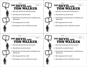 The Devil and Tom Walker Pop Quiz & Discussion Questions (by Washington Irving)