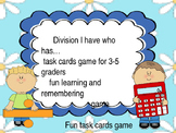 Devision game for 3rd graders practice task cards