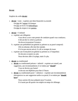 Devoir French verb reference sheet