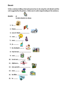 Devoir French verb worksheet 2