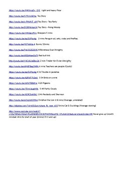 Devotion links, videos with a message from You tube on a word document