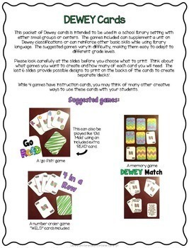 Library Skills Dewey Decimal Card Games for the School Library Media Center
