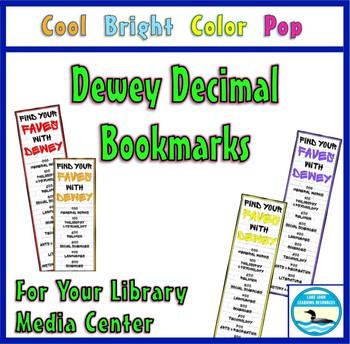 Dewey Decimal Bookmarks, Cool Bright Color Pop Ed.