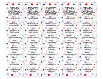 Dewey Decimal Bookmarks - DOTS