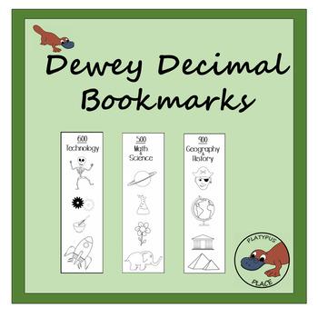 Dewey Decimal Bookmarks to Color