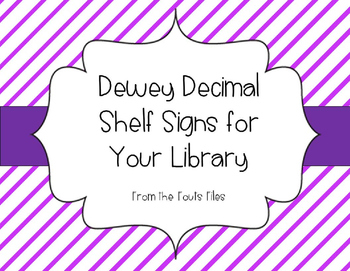 Dewey Decimal Bulletin Board / Non Fiction Shelf Signs for Your School Library