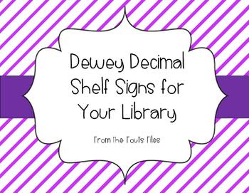 Dewey Decimal Bulletin Board / Shelf Signs for Your School