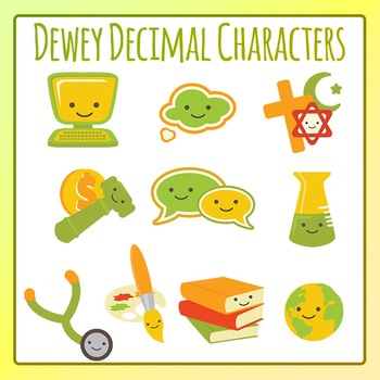 Dewey Decimal Characters Clip Art Set for Commercial Use
