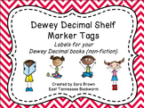 Dewey Decimal Labels for Shelf Markers in Red