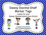 Dewey Decimal Labels for Shelf Markers in Blue