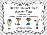 Dewey Decimal Labels for Shelf Markers in Gray