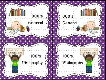 Dewey Decimal Labels for Shelf Markers in Purple