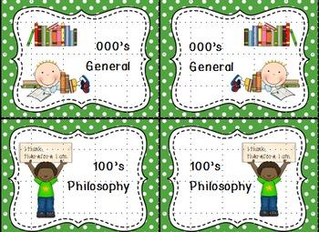 Dewey Decimal Labels for Shelf Markers in Green