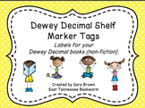Dewey Decimal Labels for Shelf Markers in Yellow