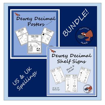 Dewey Decimal Posters & Shelf Signs in B&W - BUNDLE