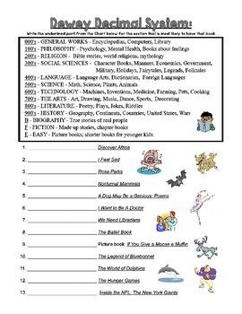 Dewey Decimal Practice Sheets