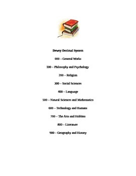 Dewey Decimal Reference Sheet