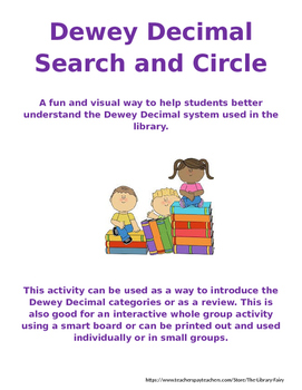 Dewey Decimal Search and Circle: a library activity