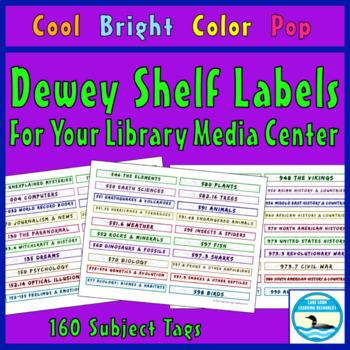 Dewey Decimal Shelf Labels, Cool Bright Color Pop Ed.