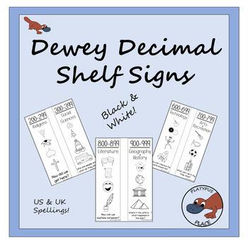 Dewey Decimal Shelf Signs in Black & White - US & UK spellings!
