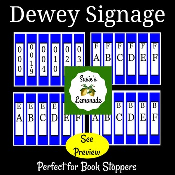 Dewey Decimal Signage Perfect for Book Stoppers Blue Pack