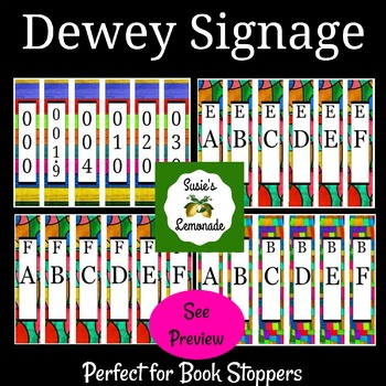 Dewey Decimal Signage Perfect for Book Stoppers- Design Pack