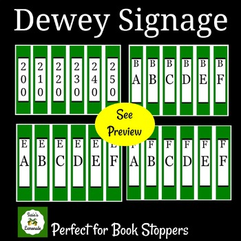 Dewey Decimal Signage Perfect for Book Stoppers- Green Pack