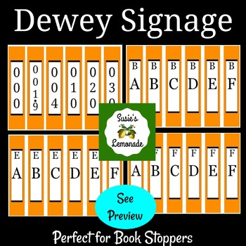 Dewey Decimal Signage Perfect for Book Stoppers- Orange Pack