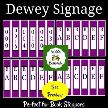 Dewey Decimal Signage Perfect for Book Stoppers- Purple Pack