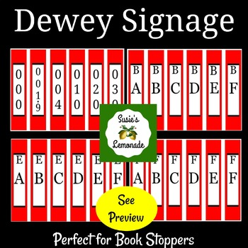 Dewey Decimal Signage Perfect for Book Stoppers- Red Pack