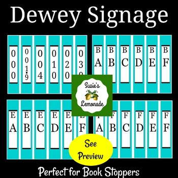 Dewey Decimal Signage Perfect for Book Stoppers Turquoise Pack