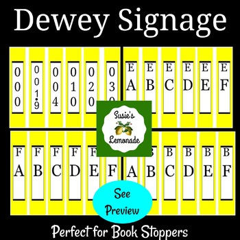 Dewey Decimal Signage Perfect for Book Stoppers Yellow Pack