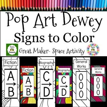 Dewey Decimal Posters and Signs Coloring Activity, 200 Ink-Friendly Designs