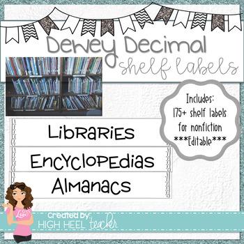 Dewey Decimal Small Shelf Labels