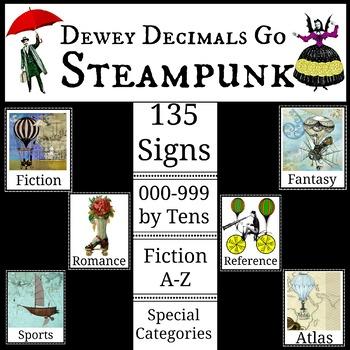 Dewey Decimal Steampunk Designs for Library Media