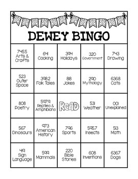 dewey decimal system bingo game by staying cool in the library tpt. Black Bedroom Furniture Sets. Home Design Ideas
