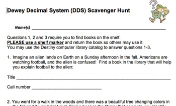 dewey decimal system scavenger hunt by lucky librarian tpt. Black Bedroom Furniture Sets. Home Design Ideas
