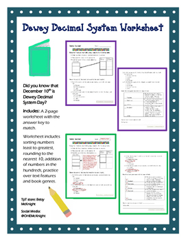 dewey decimal system worksheet by betsy hadley tpt. Black Bedroom Furniture Sets. Home Design Ideas