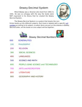 Dewey Decimal System for 2nd Grade