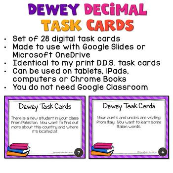 Dewey Decimal Task Cards for Google Drive