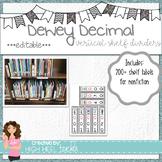 Dewey Decimal Vertical Shelf Labels ***EDITABLE***