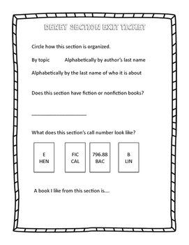 Dewey or Nonfiction Section Exit Ticket